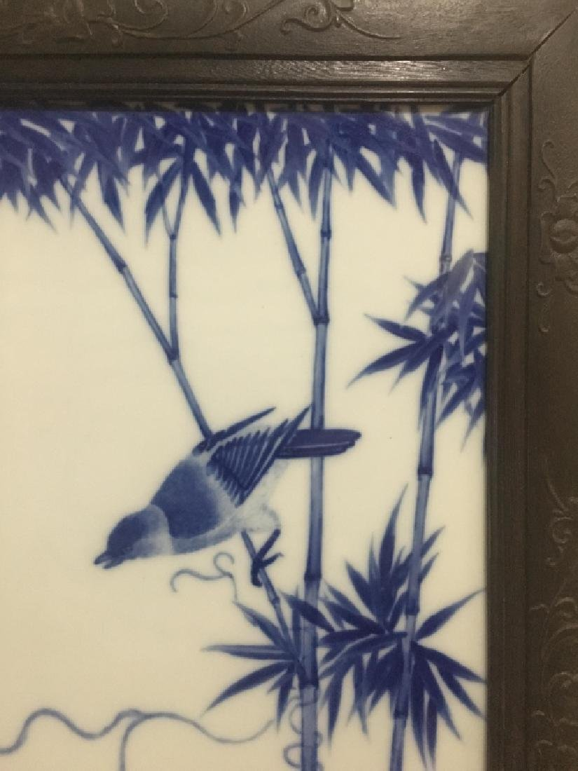 Chinese Blue and White Porcelain Plaque w Frame - 2