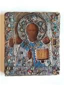 19C Russian Icon StNicholas Beads Gems Oklad