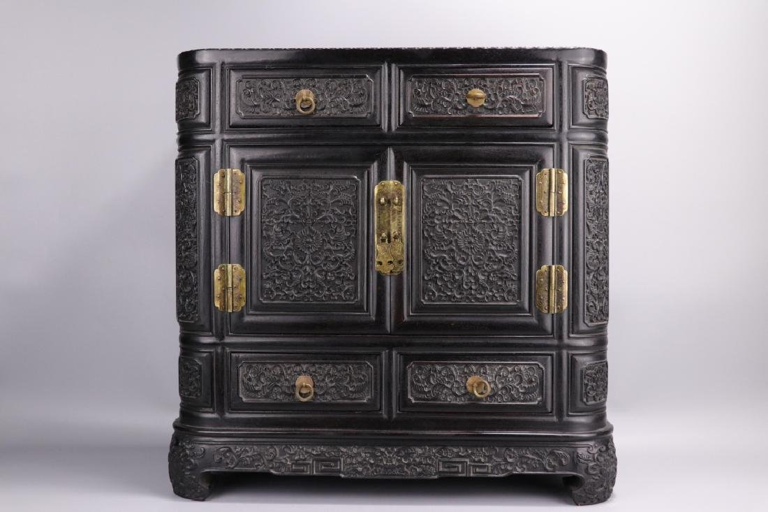 19th.c Chinese Zitan Wood Cabinet