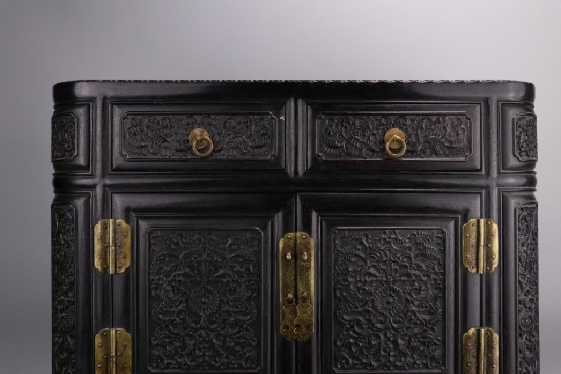 19th.c Chinese Zitan Wood Cabinet - 2