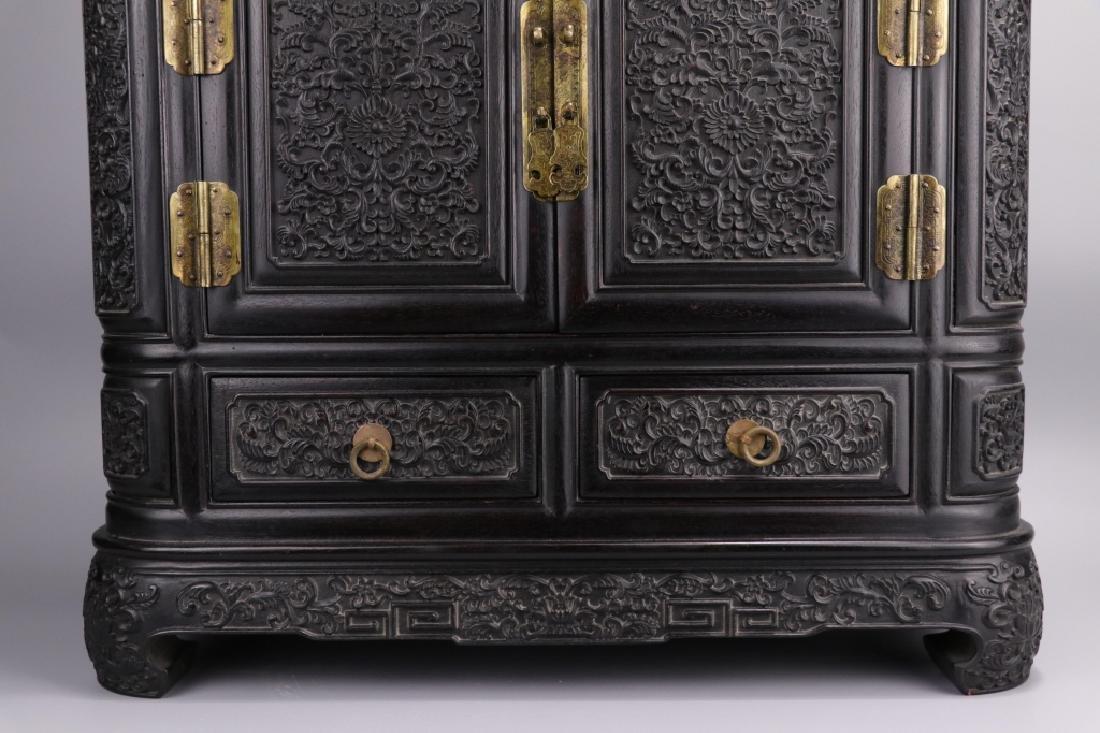 19th.c Chinese Zitan Wood Cabinet - 3