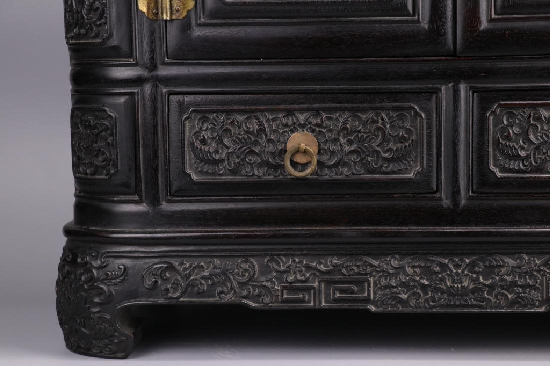 19th.c Chinese Zitan Wood Cabinet - 5