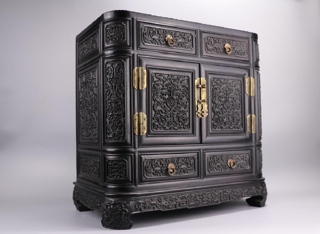 19th.c Chinese Zitan Wood Cabinet - 9
