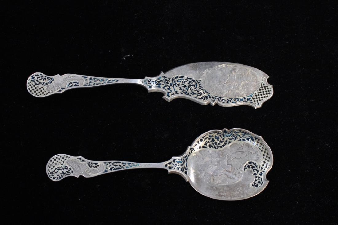 Two 19th.C Silver Serving Spoons