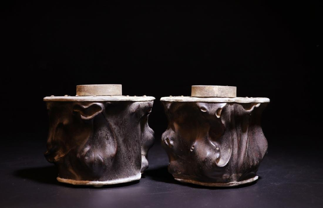 Pair of Chinese Zitan Pewter Tea Caddy