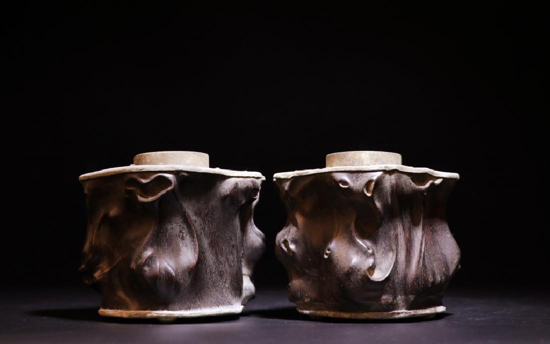 Pair of Chinese Zitan Pewter Tea Caddy - 2