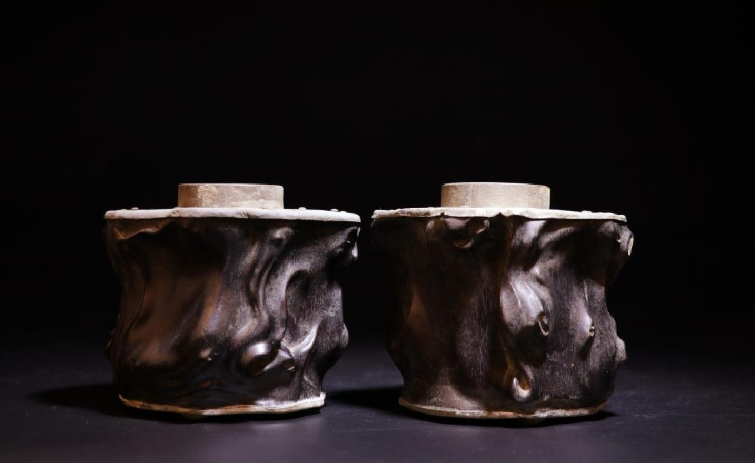 Pair of Chinese Zitan Pewter Tea Caddy - 3