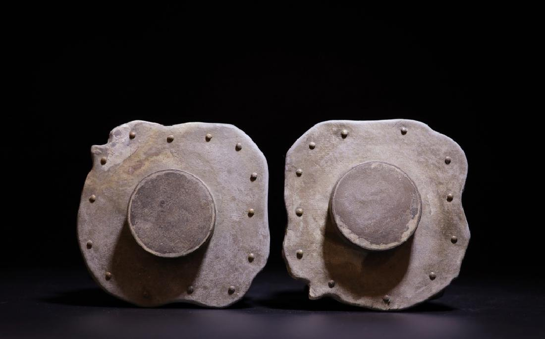 Pair of Chinese Zitan Pewter Tea Caddy - 4