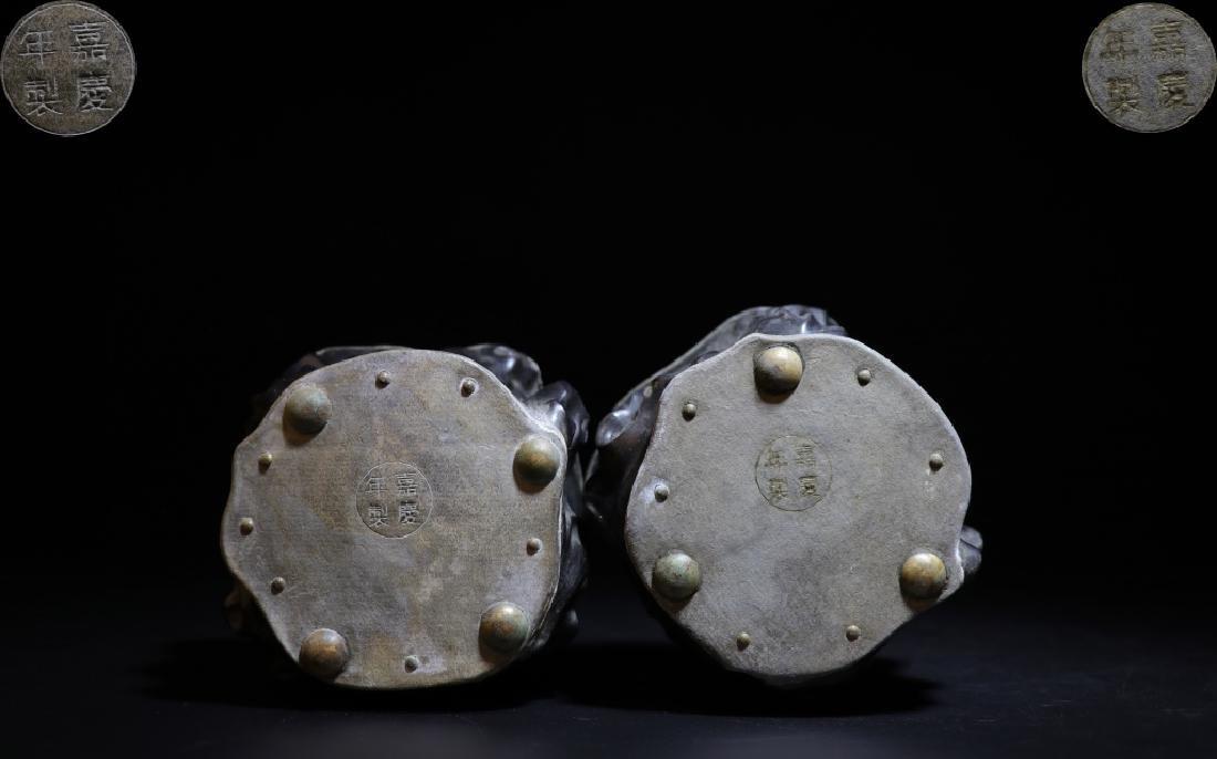 Pair of Chinese Zitan Pewter Tea Caddy - 6