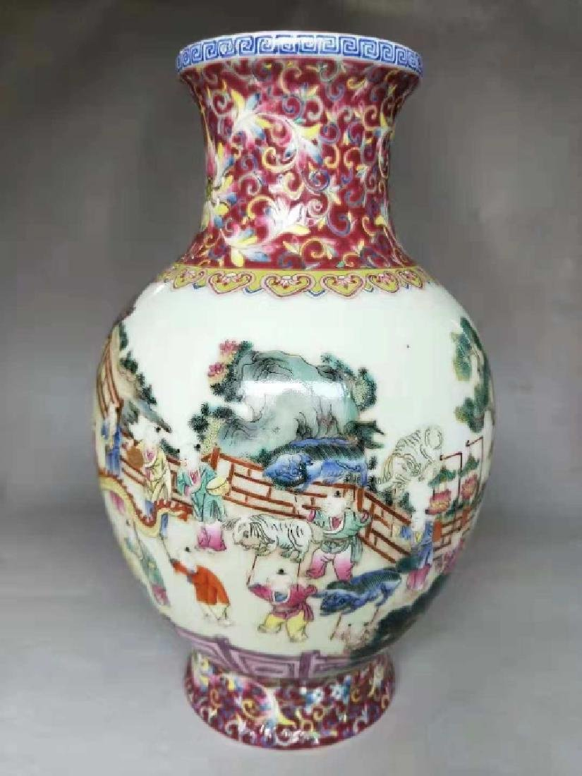 Chinese Famille Rose Porcelain Vase, Mark