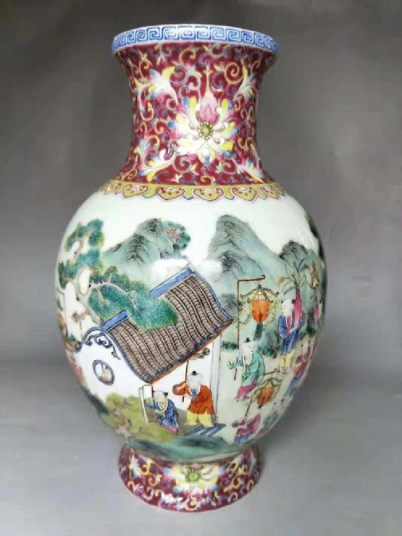 Chinese Famille Rose Porcelain Vase, Mark - 2