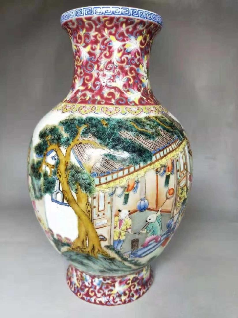 Chinese Famille Rose Porcelain Vase, Mark - 3
