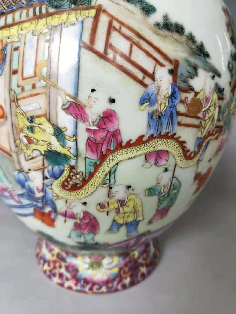 Chinese Famille Rose Porcelain Vase, Mark - 4