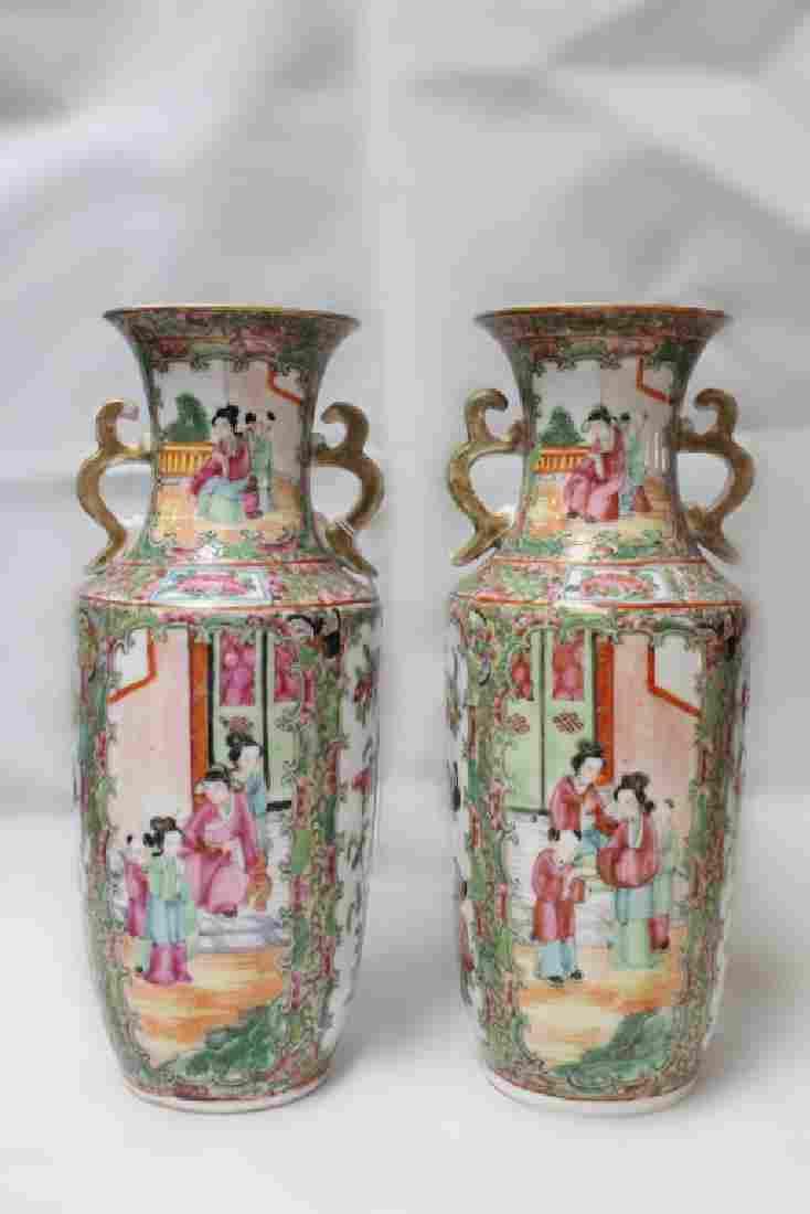 Pair of 19th.C Chinese Rose Medallion Vase