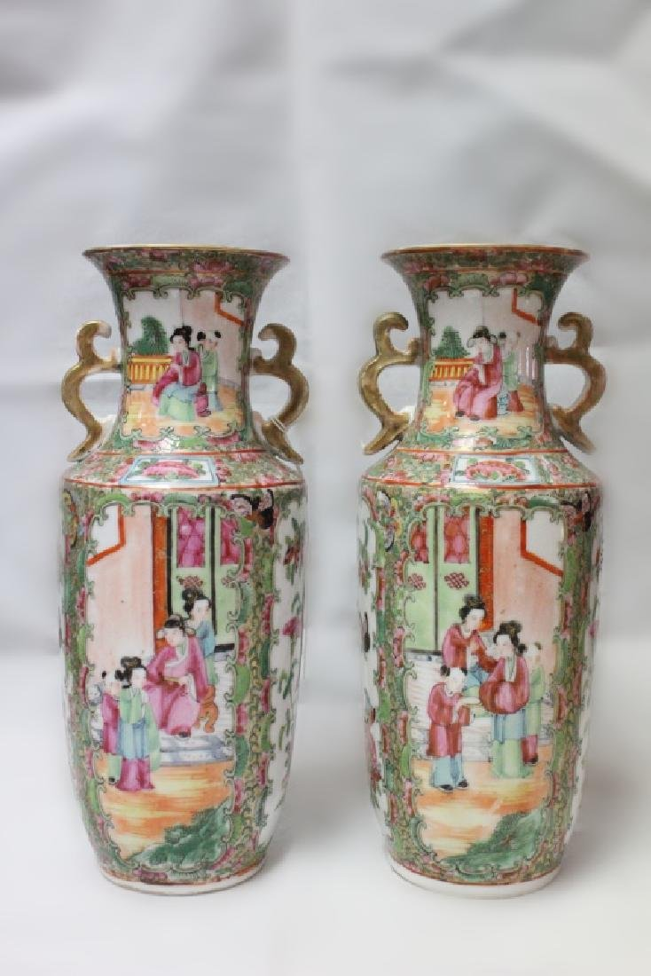 Pair of 19th.C Chinese Rose Medallion Vase