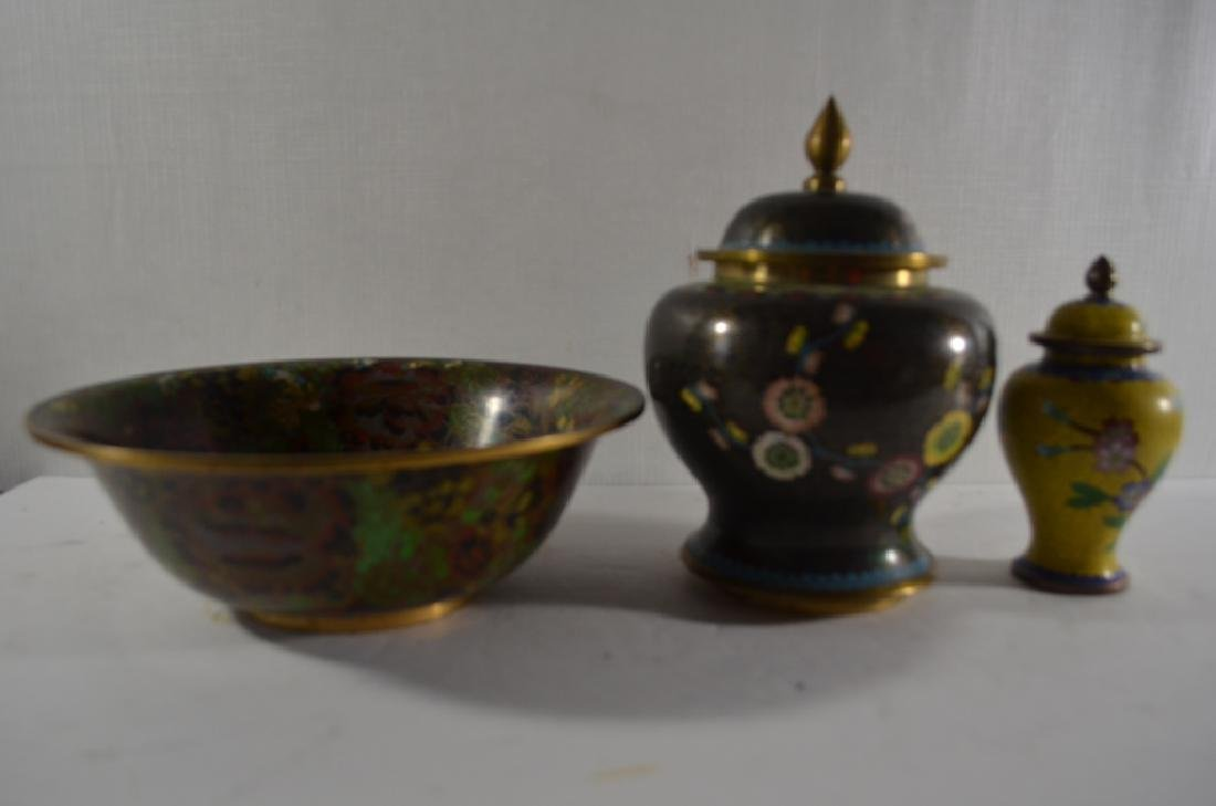 THREE CHINESE CLOISONNE ENAMEL BOWL AND COVER JAR