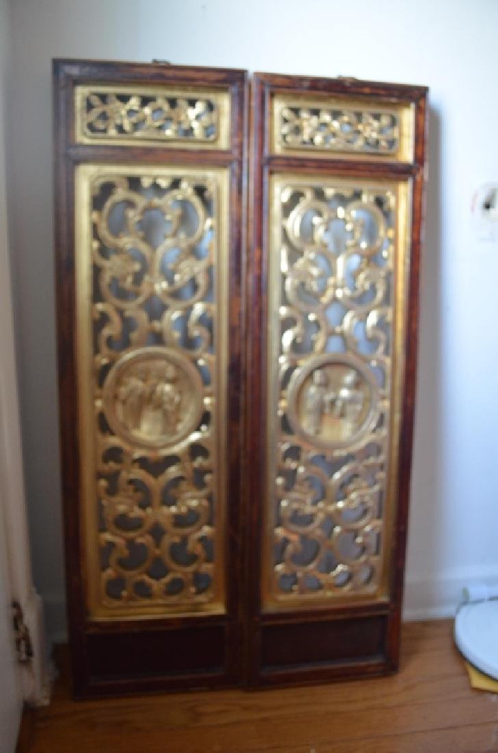 19th C Pair Old Chinese Wood Carved Gilt Panels