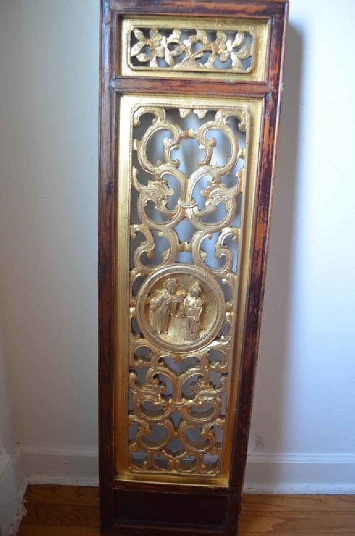 19th C Pair Old Chinese Wood Carved Gilt Panels - 2