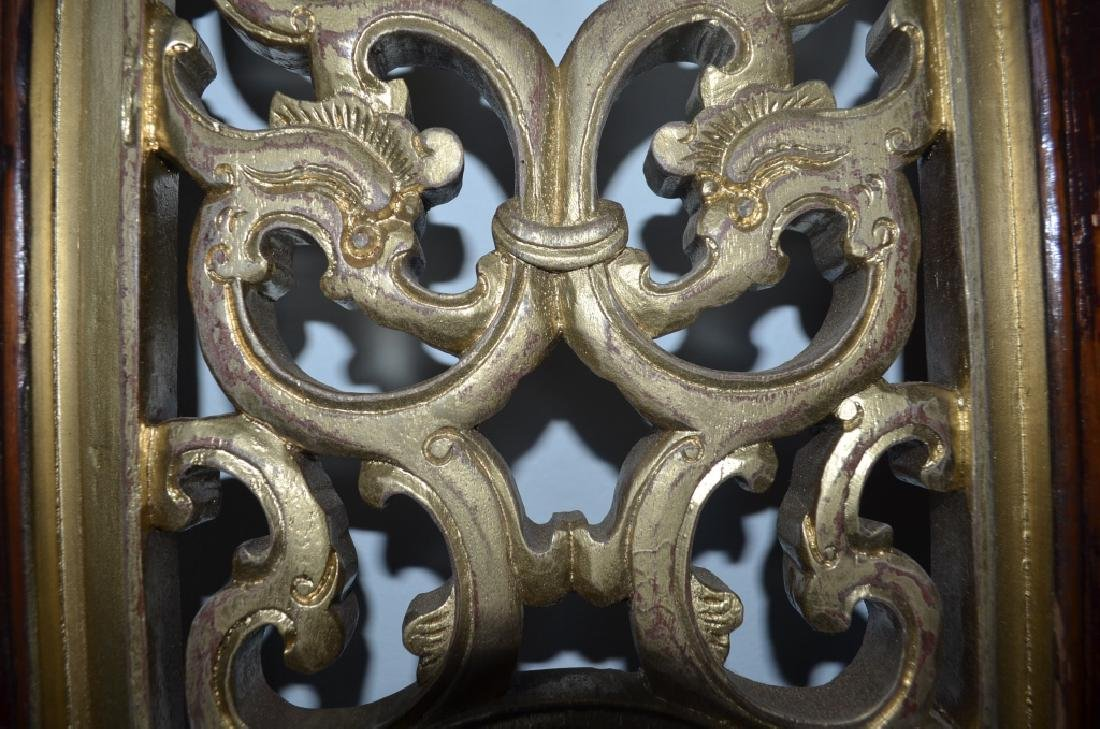 19th C Pair Old Chinese Wood Carved Gilt Panels - 4