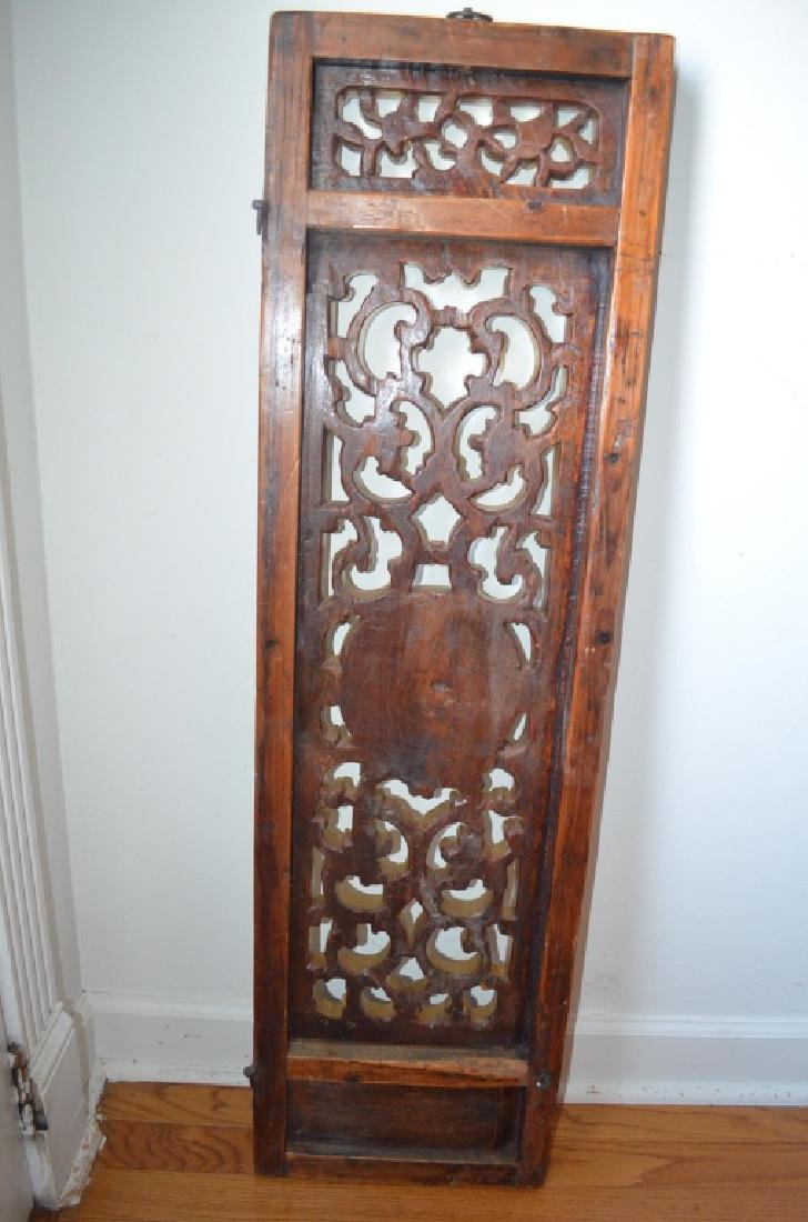 19th C Pair Old Chinese Wood Carved Gilt Panels - 7