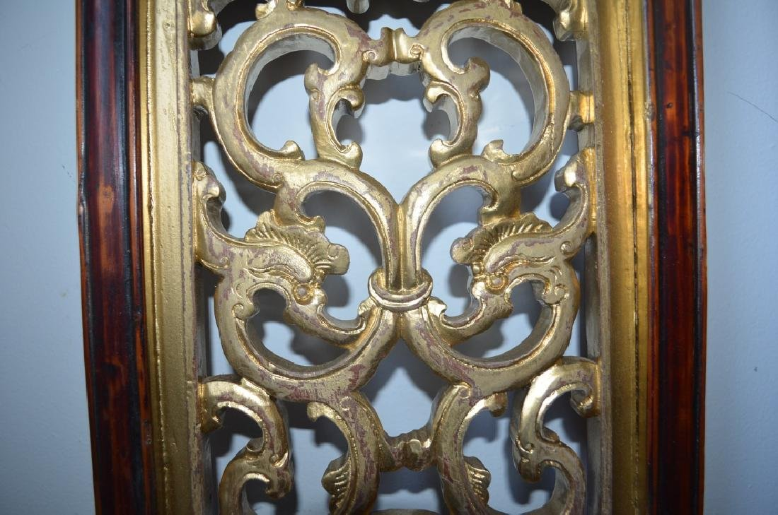 19th C Pair Old Chinese Wood Carved Gilt Panels - 9