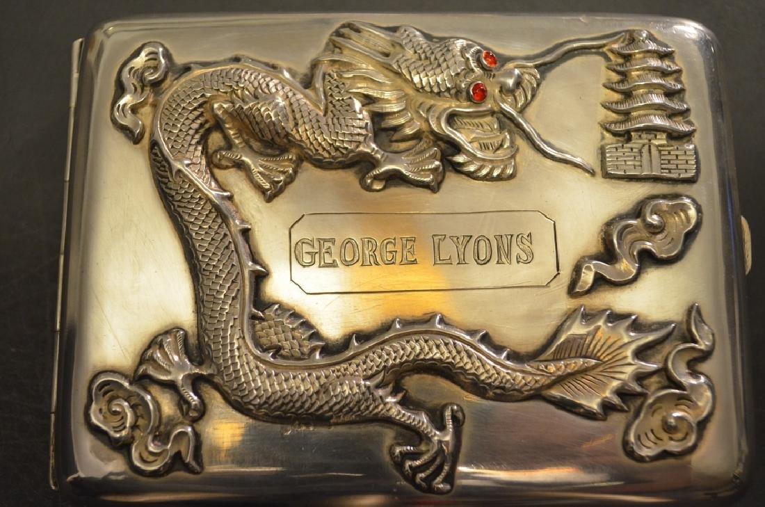 Vintage Chinese Silver Raised Dragon Cigarette Case