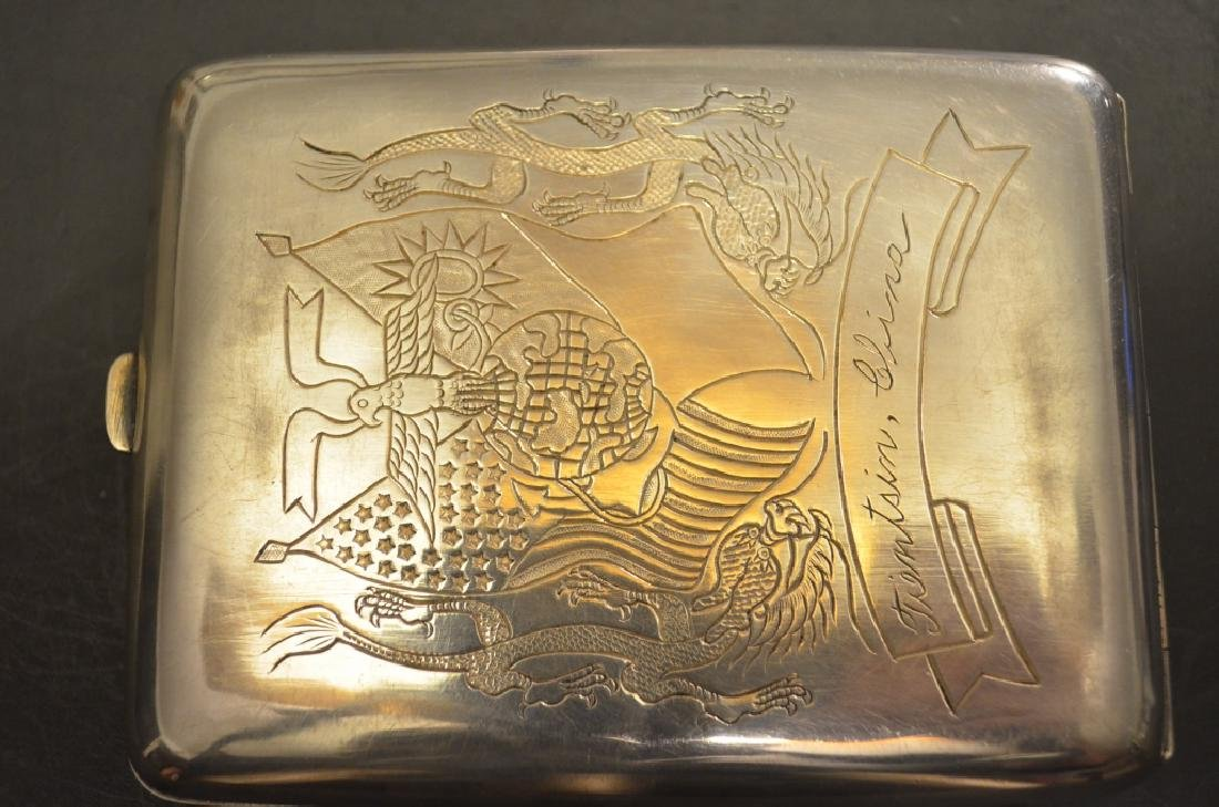 Vintage Chinese Silver Raised Dragon Cigarette Case - 2