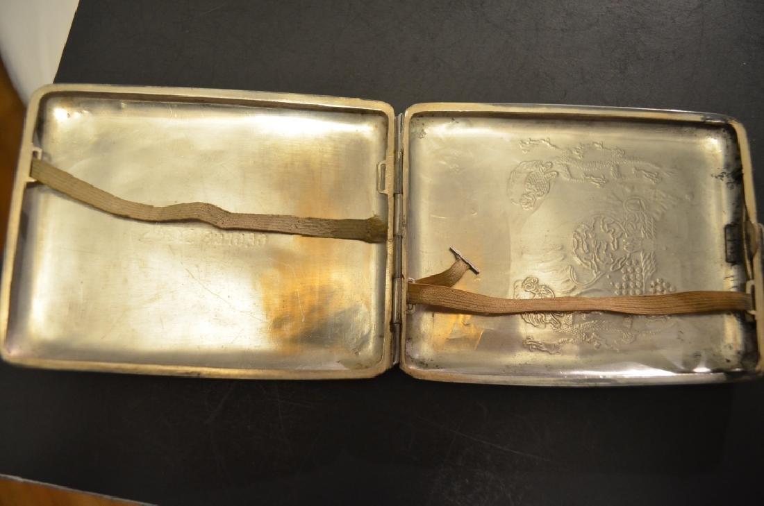 Vintage Chinese Silver Raised Dragon Cigarette Case - 3