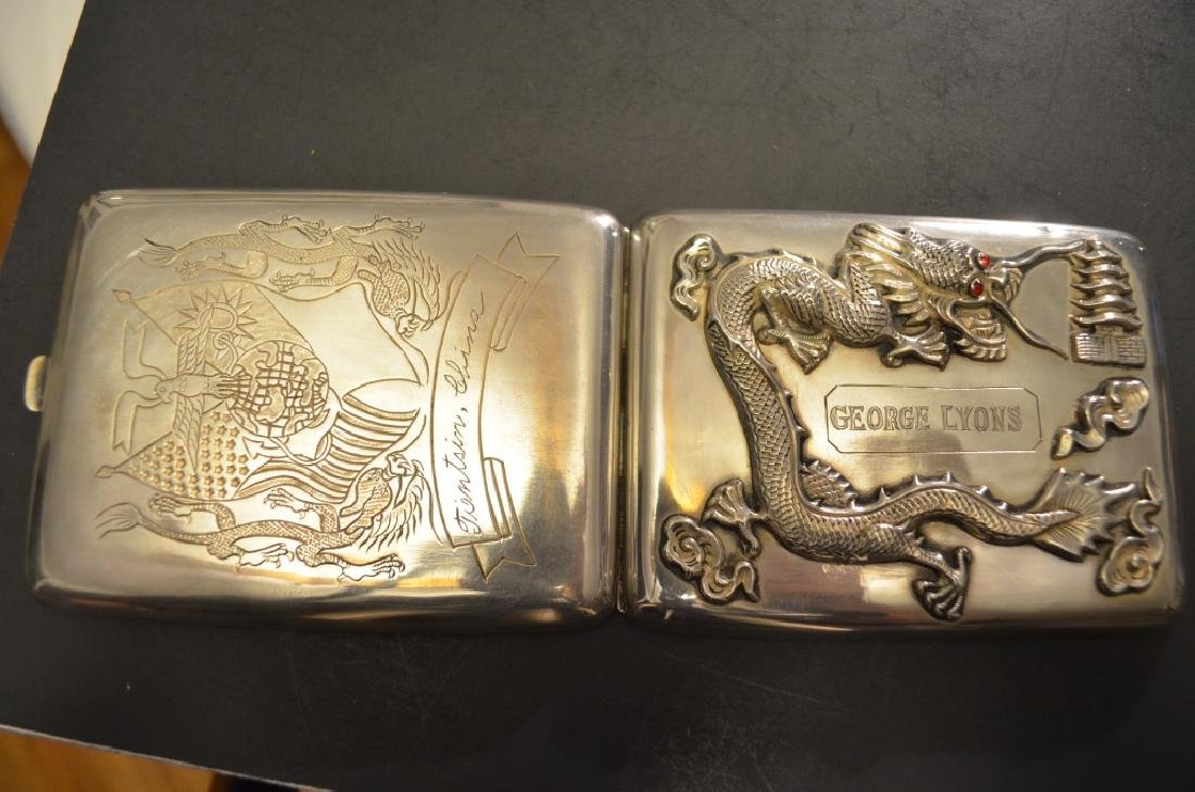 Vintage Chinese Silver Raised Dragon Cigarette Case - 4