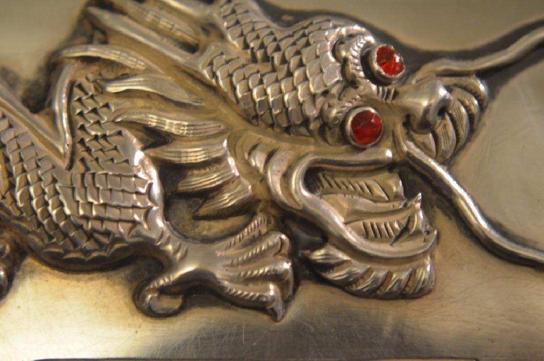 Vintage Chinese Silver Raised Dragon Cigarette Case - 5