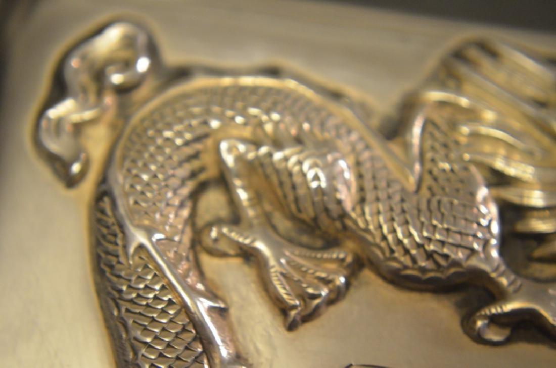 Vintage Chinese Silver Raised Dragon Cigarette Case - 6