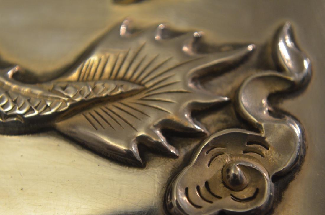 Vintage Chinese Silver Raised Dragon Cigarette Case - 8