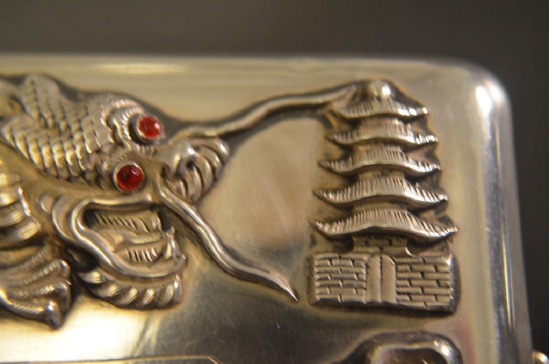 Vintage Chinese Silver Raised Dragon Cigarette Case - 9