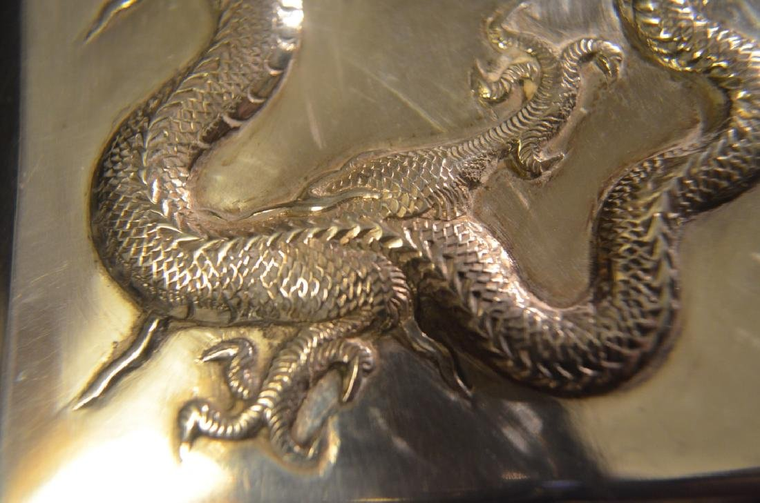 Vintage Chinese Silver Dragon Cigarette Case - 10
