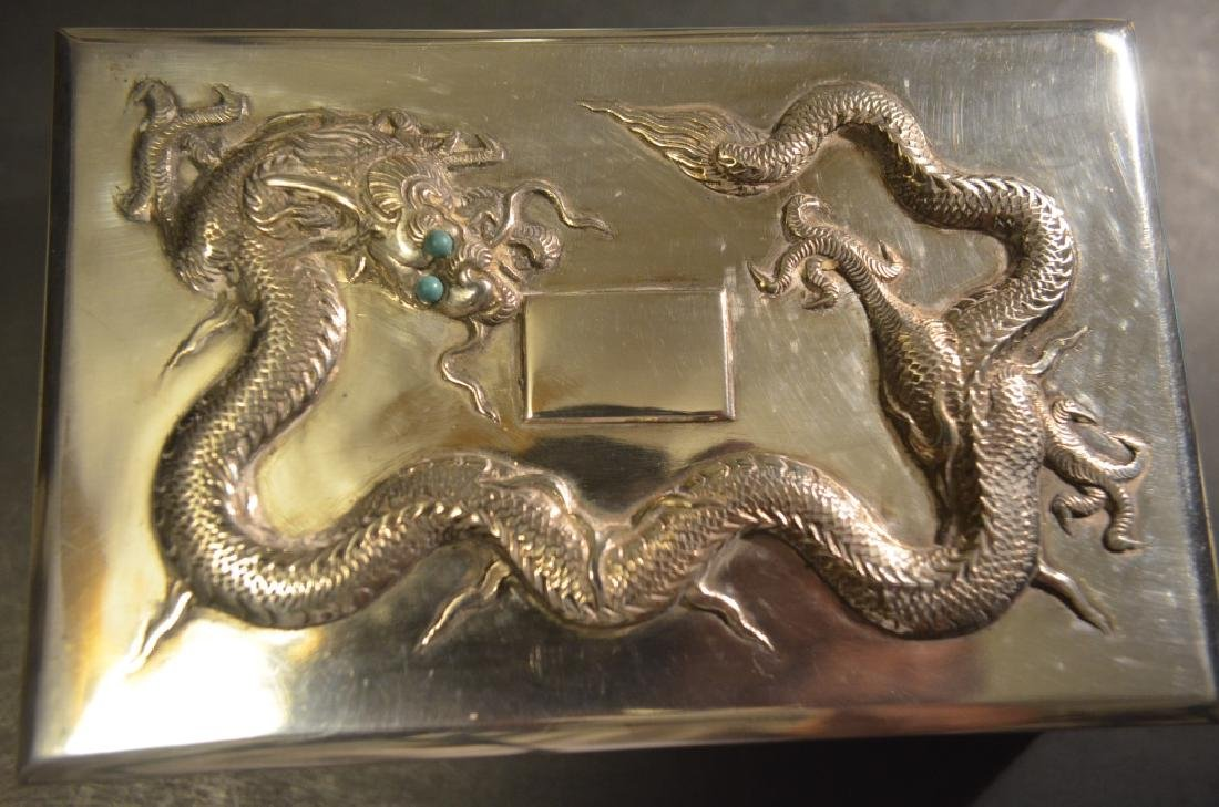 Vintage Chinese Silver Dragon Cigarette Case