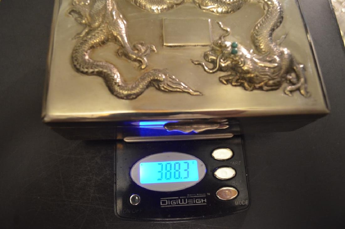 Vintage Chinese Silver Dragon Cigarette Case - 2