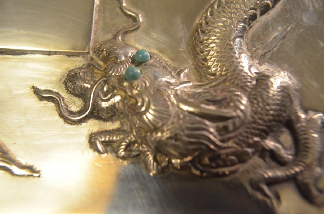 Vintage Chinese Silver Dragon Cigarette Case - 7