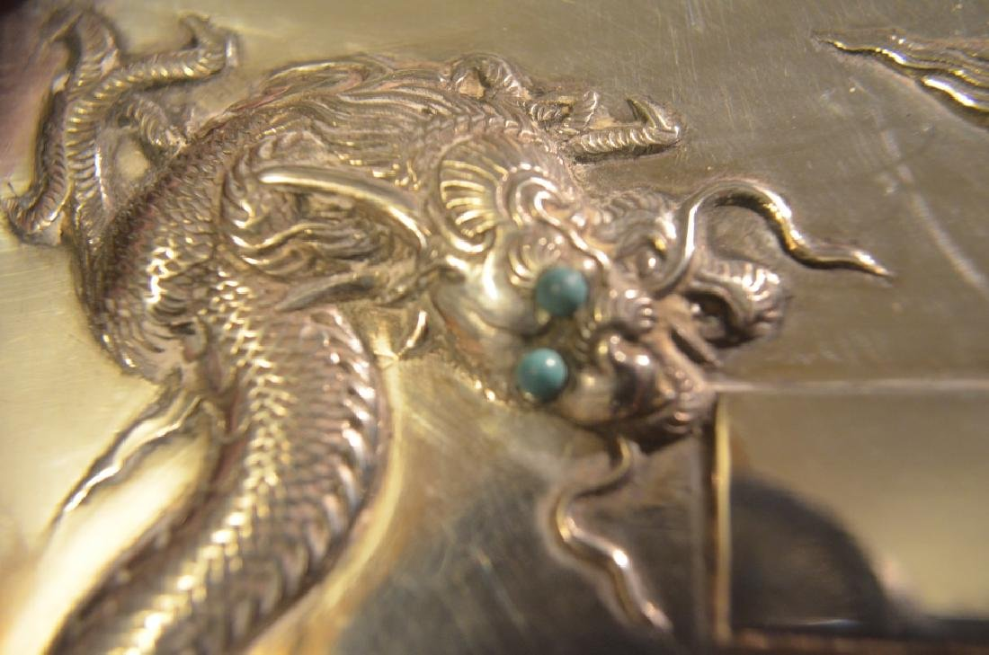 Vintage Chinese Silver Dragon Cigarette Case - 8