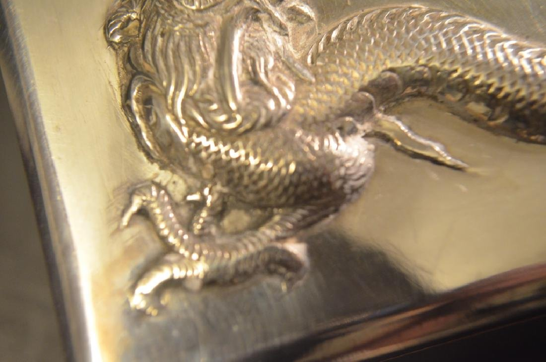 Vintage Chinese Silver Dragon Cigarette Case - 9