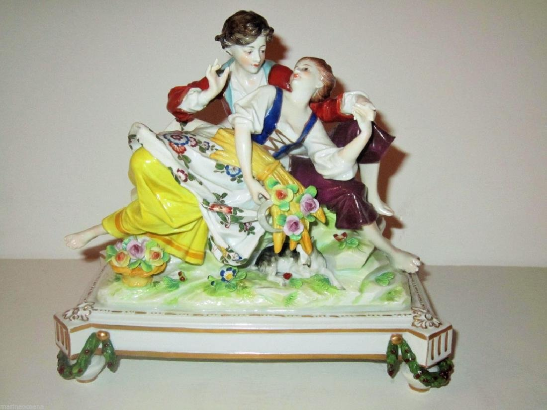 Large Antique German Porcelain Group Figurine