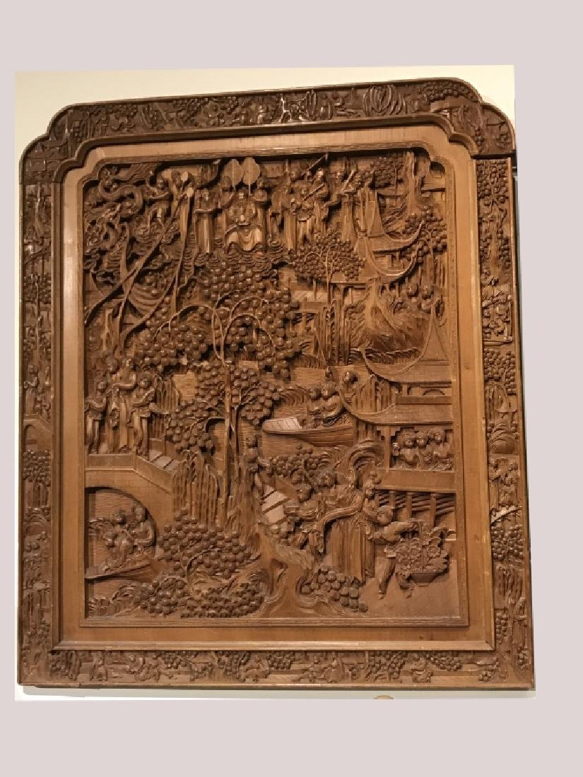 Large Chinese Wood Panel w Figurals