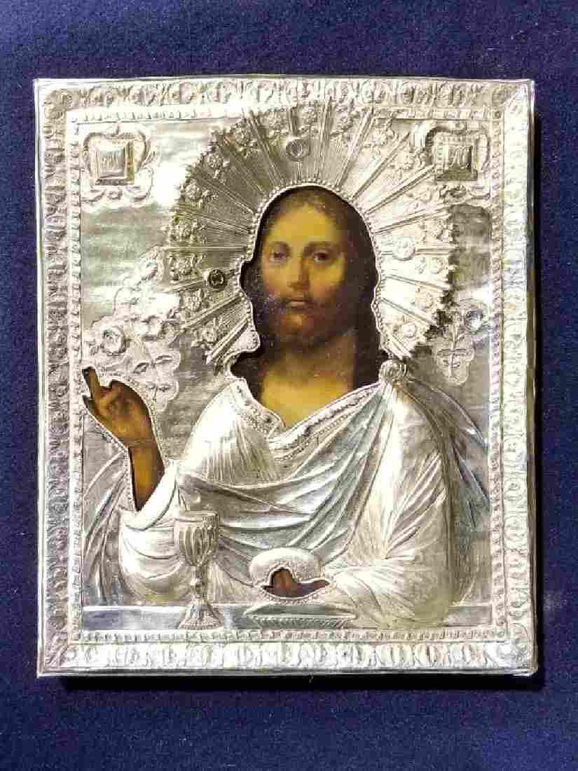 19C Russian Gilt Silver Icon Christ Pantocrator
