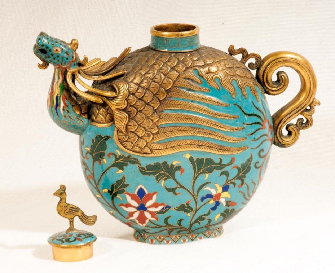 Chinese Cloisonne and Brass Dragon Tea Pot