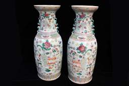Pair of Large Chinese 19thC Famille Rose Vases