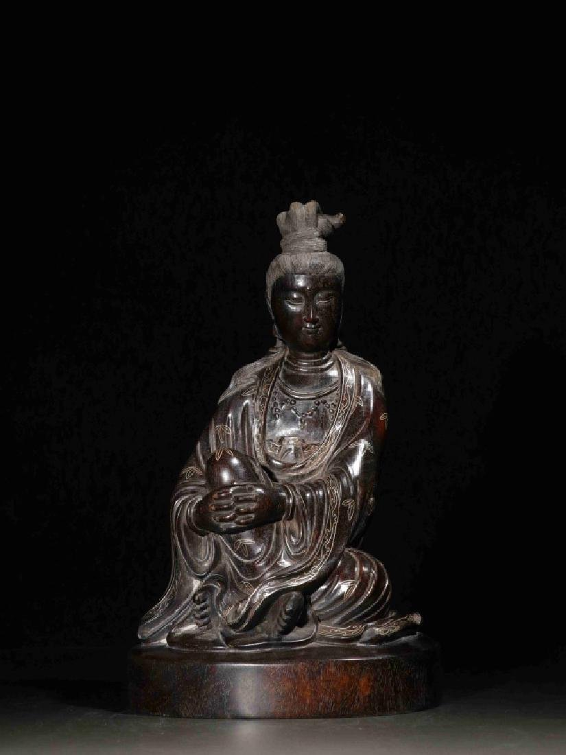 Chinese Zitan Wood Carved Seated Guanyin w Silver