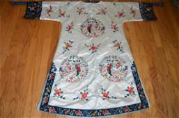 Vintage Chinese Embroidered Woman w/ Swords Silk