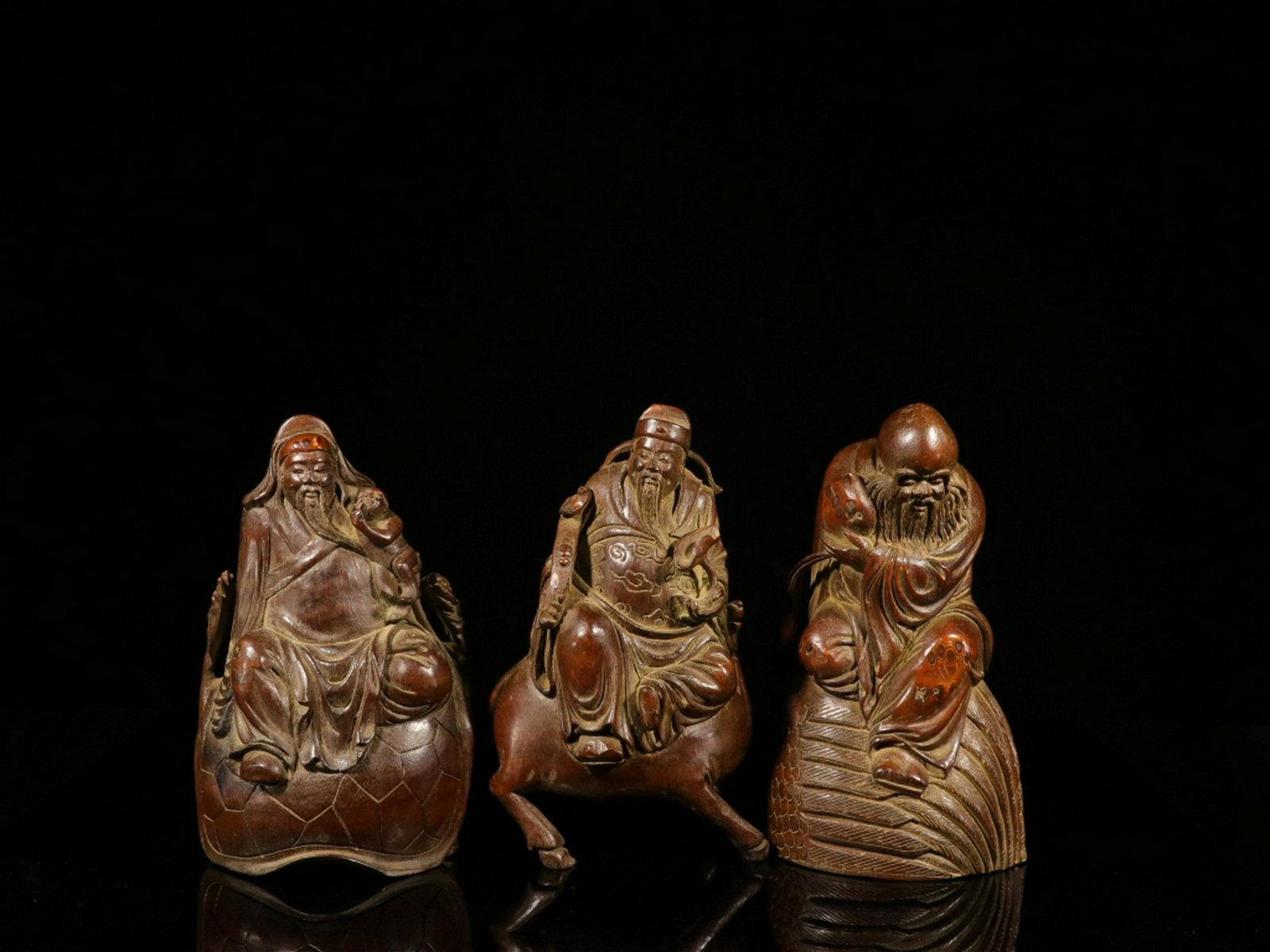 Three Late Qing Chinese Bamboo Carved Figurals