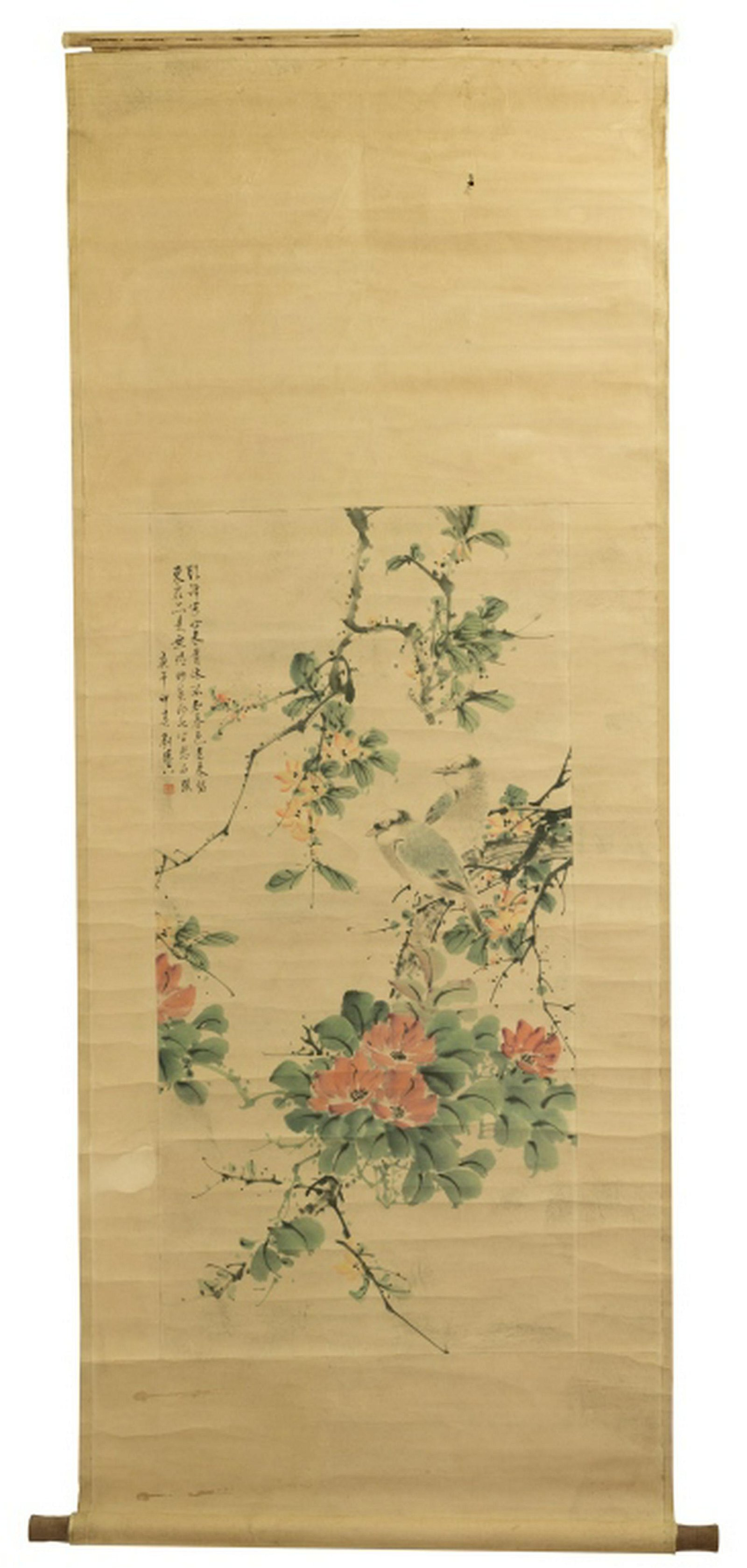 Chinese watercolor Scroll Painting, Birds&Trees