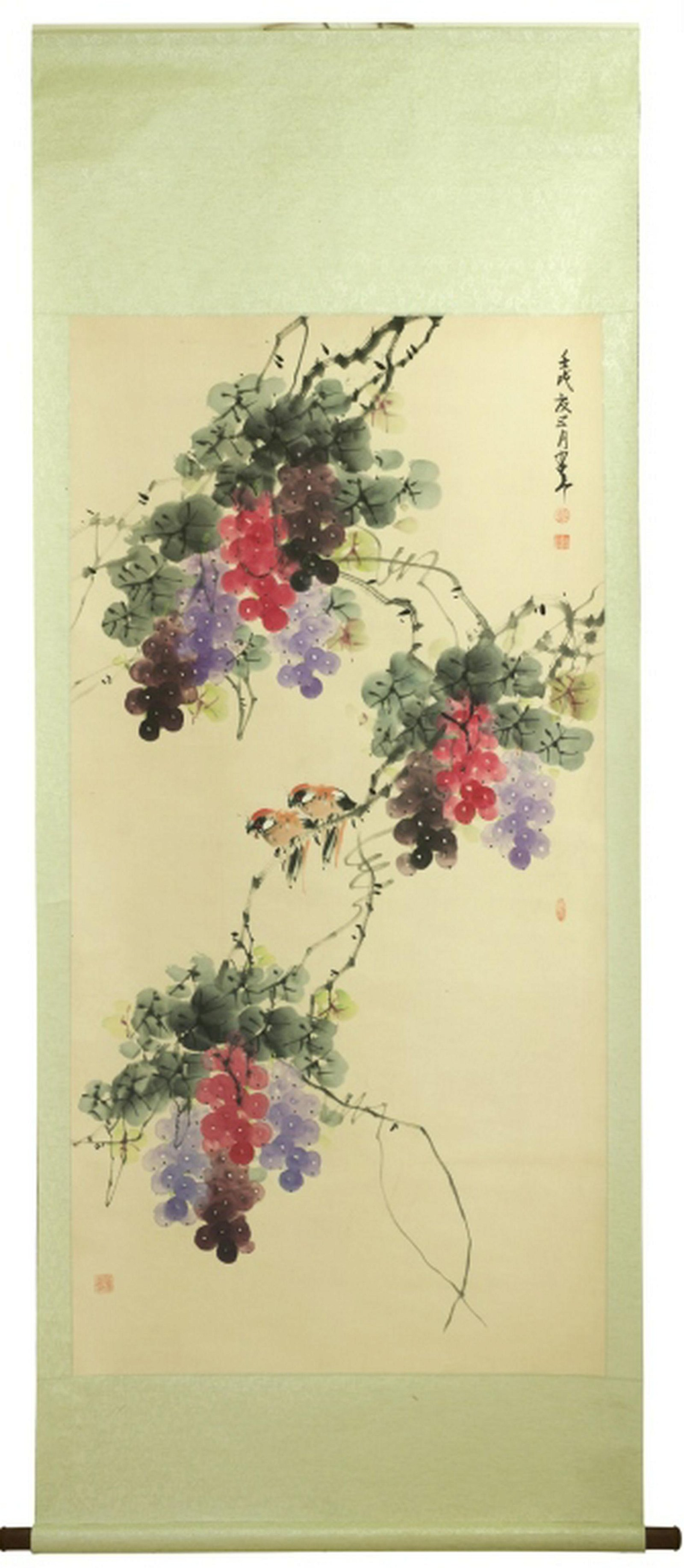 A large Chinese Watercolor Scroll,Sign and seal