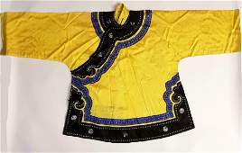 Antique Chinese Womans Yellow Robe 19th C